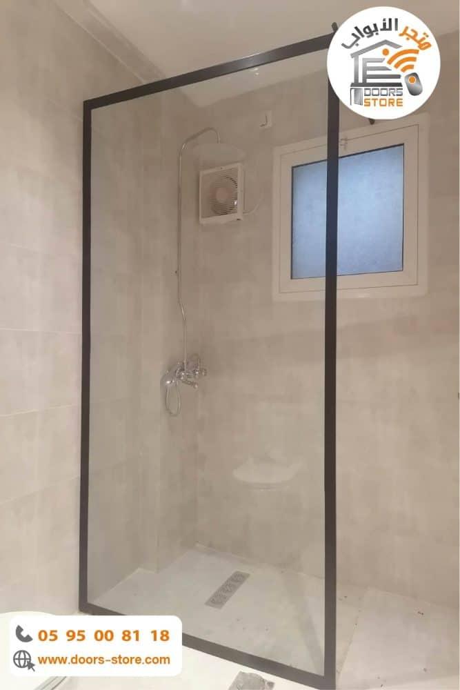 حاجز زجاجي للحمام باطار اسود